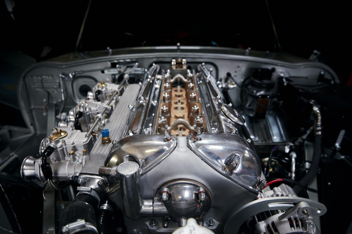 The Helm 300bhp 3.8 litre engine of the E-Type